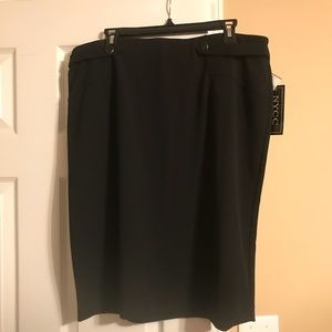 NEW Button Front Black Midi Skirt